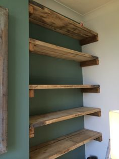 scaffold board bookcase in alcove - Google Search