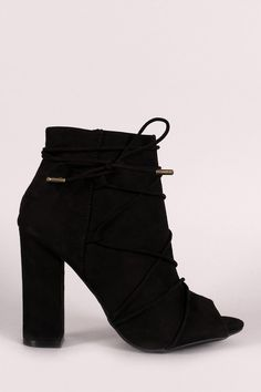 Bamboo Strappy Lace Up Peep Toe Booties – Style Lavish