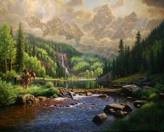 New Frontiers by Mark Keathley ~ mountain man horse Rocky Mountains waterfall river pines