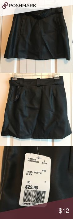 Black faux Forever 21 mini skirt NWT black faux leather Forever 21 miniskirt size 30. Probably about an 11 equivalent.  Little wrinkly but smooths out when you put in on. Comes with detachable belt. Forever 21 Skirts Mini
