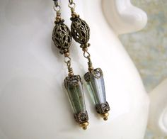 Victorian Earrings of Green and Brass - ornate filigree beads and finding with green Picasso Czech glass beads - Victorian Jewelry   by ElainaLouiseStudios, $21.00