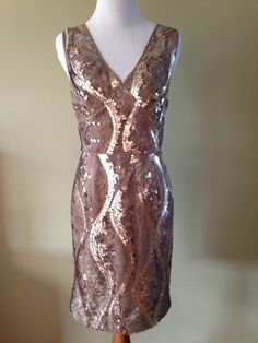 Adrianna Papell Embellished Taupe Lace Satin Sequin Overlay Cocktail Dress Sz 10 #AdriannaPapell #Sheath #Cocktail #stunning