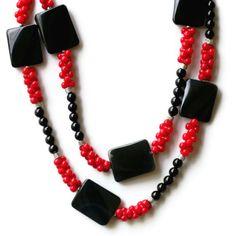 Color Block Red Black Necklace Bracelet Set/ Long by ALFAdesigns, $79.99