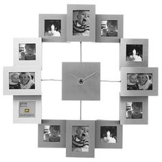Present Time Photo Frame Clock Family Time Brushed Aluminum, Small Collage Picture Frames, Frames On Wall, Wall Clock With Pictures, Photo Clock, Best Mothers Day Gifts, Unique Clocks, Diy Clock, Time Photo, Photo Displays