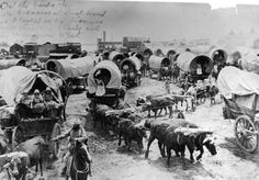 Pioneer People | Pioneers, Wagons and Oxen Crossing the Arkansas River at Great Bend ...