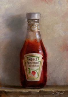 Saatchi Art: Ketchup by Neil Nelson Still Life Artists, Food Painting, Still Life Oil Painting, A Level Art, Everyday Objects, Kitchen Art, Ketchup, Contemporary Paintings, Painting Inspiration