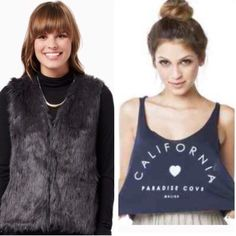 BUY ONE, GET ONE FREE  Grey faux fur vest (size M) and Brandy Melville crop top (one size). PLEASE see individual listings in closet for more pictures and details on items. Brandy Melville Jackets & Coats Vests