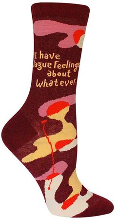 Merlot purple and peach and lavender combine on this vague-shapes covered crew sock.
