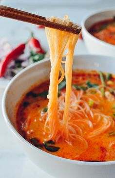 15 Minute Coconut Curry Noodle Soup, by thewoksoflife.com #veganize it with tofu, veggie broth, and liquid aminos!