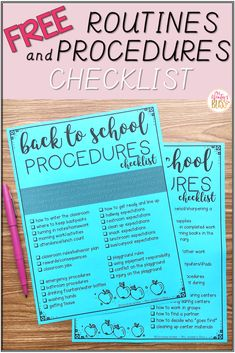 Professional development book study for teachers! Free back to school procedures checklist! This checklist covers classroom procedures and routines that that teachers teach on the [. 1st Day Of School, Beginning Of The School Year, High School, Starting School, Classroom Procedures, Classroom Checklist, Teaching Procedures, Back To School Checklist, Middle School Procedures