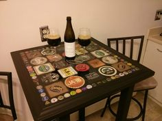 I know who I want to make this for. Better find someone who drinks beer and can save me the caps.  Beer bottle cap and coaster table - Imgur