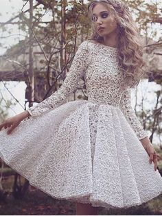 Unique Long Sleeves Full Lace Evening Gowns Short