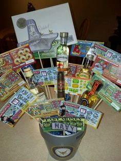 lottery ticket boquet. why didnt i think of that?! Great gift for men!                                                                                                                                                      More