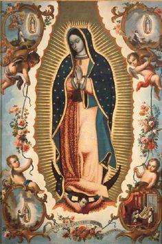 A painting of Our Lady of Guadalupe. Catholic Art, Religious Art, Catholic Icing, Catholic Quotes, La Madone, Catholic Pictures, Images Of Mary, Mama Mary, Christian Wallpaper