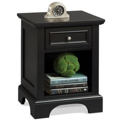 @Overstock.com - Bedford Black Night Stand - Add a touch of flair to your bedroom decor with this beautiful black night standthat features one storage drawer and a lower storage area for your reading materials. The brushed nickel hardware gives this durable nightstand a look of elegance.  http://www.overstock.com/Home-Garden/Bedford-Black-Night-Stand/6620956/product.html?CID=214117 $112.99