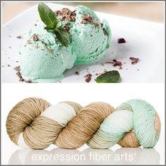 Expression Fiber Arts, Inc. - MINT CHOCOLATE CHIP 'RESILIENT' SUPERWASH MERINO SOCK YARN, $24.00 (http://www.expressionfiberarts.com/products/mint-chocolate-chip-resilient-superwash-merino-sock.html)