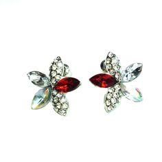 Shiny Korean Style Elegant Cherry Blossom Flower Screwback Stud Earrings for Women, Silver Plated