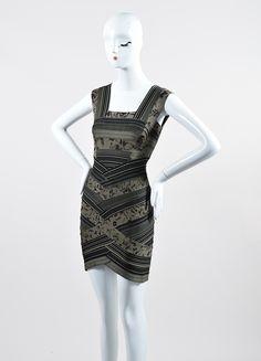 "Green and Black Herve Leger Printed Stripe Bandage ""Mallory"" Dress"