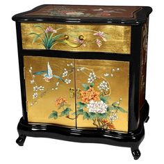 Handmade elm end table with a Japanese-style floral motif on a gold leaf background.    Product: End tableConstruction Mat...