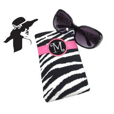 Check out Monogram Black & White Zebra Glasses Case Personalized Custom Glasses Case Sunglass Case Readers Case Cell Phone Case Unique Boutique Gift on sewsationalstitches