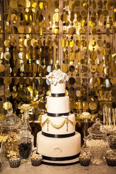 1920s Inspired Luxe Black & Gold Wedding Cake by Elizabeth's Cake Emporium