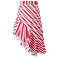 Contrast Striped Asymmetrical Tiered Skirt (1,260 PHP) ❤ liked on Polyvore featuring skirts, red asymmetrical skirt, long red skirt, tiered skirt, long tiered skirt and tiered maxi skirt
