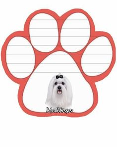 Maltese Dog Paw Magnetic Note Pads