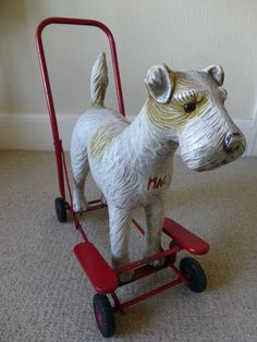 Vintage Antique 1950 s / 1960 s *Tri-ang* Push a long Fox Terrier Dog on wheels