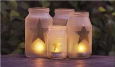 Use recycled glass jars to create lanterns