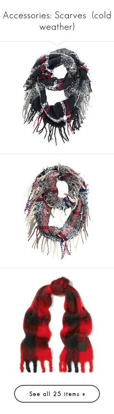 """""""Accessories: Scarves  (cold weather)"""" by judy78 ❤ liked on Polyvore featuring accessories, scarves, black, heavy, plaid infinity scarves, fringe infinity scarves, tartan scarves, fringe infinity scarf, long infinity scarf and beige"""