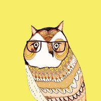 OWL WEARING GLASSES by AshleyPercival $20.00