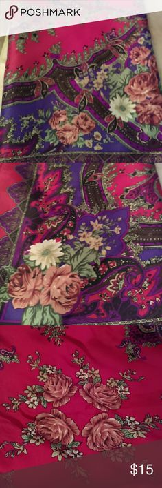 """Beautiful Scarf Red with Paisley and flower design.  Purple. tan, green,fuschia hues.  34"""" X 34"""" Accessories Scarves & Wraps"""