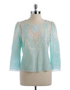Alma Embroidered Lace Detail Blouse | Lord and Taylor