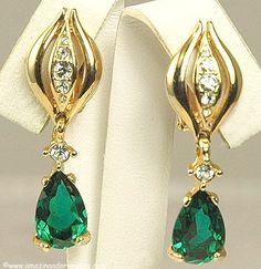 Glamorous Vintage Green and Clear Rhinestone Dangle Earrings
