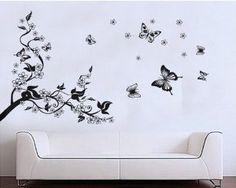 arbre papillonn dessin | Stickers muraux romantique fleur de Sakura Prunus Cherry Blossom arbre ...