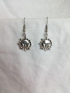Beautiful pair of Silver Earrings with Sun Face and Hypoallergenic Surgical Steel Ear Wires by COOLSTUFFGOODPRICES on Etsy