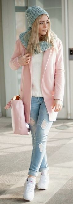 Pastel pink coat + white jumper and trainers + grey knit beanie and scarf + white jumper