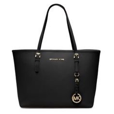 Michael Kors LIKE NEW Black Saffiano Jet Set Tote Excellent condition! Black Saffiano leather with gold tone hardware. Small/ medium size. Matching wallet available. Dust bag available for $10 extra (I purchased it separately). Trading value $300 Michael Kors Bags Totes