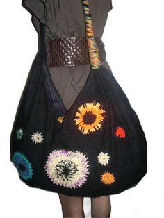 Boho Hobo Bag Slouchy Bag Multicolored Knitted Bag by BMaja, $45.00