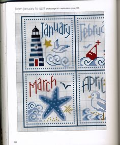 Sea Shore Calendar - part 1 Cross Stitch Sea, Cross Stitch Beginner, Cross Stitch Borders, Cross Stitch Alphabet, Cross Stitch Charts, Cross Stitch Designs, Cross Stitching, Cross Stitch Embroidery, Cross Stitch Patterns