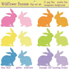 Easter bunny clip art, royalty free rabbit clipart, silhouette, .png, pastel, digital scrapbook supplies, spring,  instant download, CA 127 via Etsy