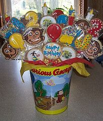 Curious George birthday cookie bouquet