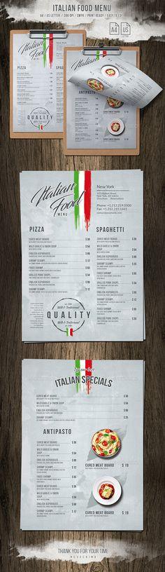 Italian Light A4  US Letter Single Page Menu — Photoshop PSD #chalkboard #landscape • Available here ➝ https://graphicriver.net/item/italian-light-a4-us-letter-single-page-menu/20749722?ref=pxcr
