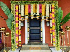 Diwali Decorations At Home, Marriage Decoration, Wedding Stage Decorations, Backdrop Decorations, Flower Decorations, Backdrops, Entrance Decor, Wedding Entrance, Entrance Design