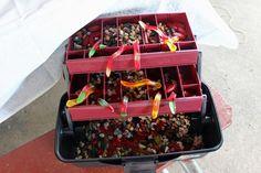 boys camping birthday party tackle box treats