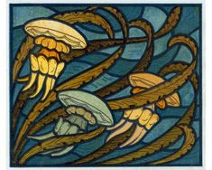 An example of how I could do an art nouveau painting - thick black outines, thin inlines and bold colors.