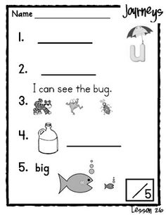 This packet goes with the Kindergarten Journey's Reading Series!  Inside the packet is a skills test for lessons 26-30(Unit 6)...  www.littlemindsatwork.blogspot.com