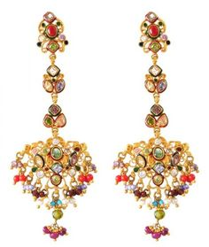 22K Gold Antique Earrings with coral, turquoise, pearls, polki style stones, crystals