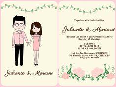 Wedding Invitation, Save the Date, Couple Cartoon Illustration (Digital) - by LenniarIllustration