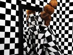 """Stripes, Checks and Words""   Models: Sagmesiter, Jessica Walsh, Anastasia Durasova & Gregory Alan, Photographer: Henry Hargreaves, AÏZONE Campaign, FW 2010-2012"